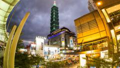 1080 - Taipei 101 - Xinyi Shopping District - Timelapse Stock Footage
