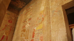 ancient egypt color images on wall in luxor - stock footage