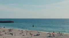 View Across the Sand and Water at Cottesloe Beach Stock Footage