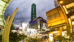 4k - Taipei 101 - Xinyi Shopping District - Timelapse Stock Footage