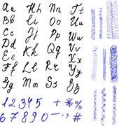 Alphabet. Hand drawn letters. Black letters and numbers on white background. Piirros