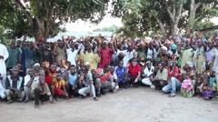 Africa adventure explorers and village people Guinea Bisseau Stock Footage