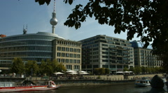 River Spree and Berlin business buildings Stock Footage
