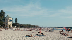 Sunbathing in Cottesloe Beach in Western Australia Stock Footage