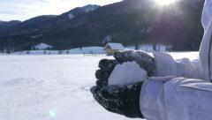 Making a snowball - stock footage