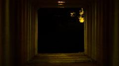 Tunnel, underground walkway, spooky Los Angeles equestrian Stock Footage
