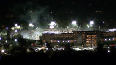Loop of firework display at the finale of the historic 2015 Rose Bowl Stock Footage