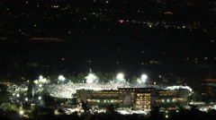 Timelapse clip of the Rose Bowl crowd as game ends with fireworks Stock Footage