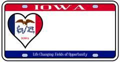 Iowa state license plate Stock Illustration