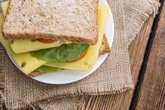 Fresh made sandwich (with cheese) Stock Photos