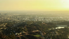 4k resolution Timelapse view from the Hollywood Sign as the day ends Stock Footage