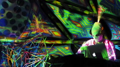 Electronic Music Artist Allientech Performing Live at Terra Em Transe Festival Stock Footage