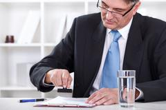 businessman stamping document , approve contract - stock photo