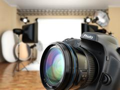 Dslr camera in photo studio with lighting equipment, softbox and flashes. Stock Illustration