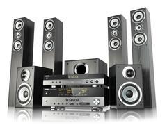 Home cinema speaker system. loudspeakers, player and receiver. Stock Illustration