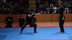 Ninjutsu Martial Arts Practicing Demonstration Takedowns Stock Footage