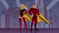 Superhero Couple 2 Stock Footage