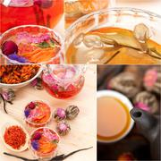 Collection of different herbal tea infusion collage Stock Photos