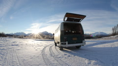 Old VW Van in Snowy Alaska With Sunrise Stock Footage