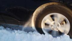 Car stuck in snow. Stock Footage