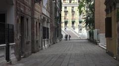 Venice Italy narrow neighborhood street bridge 4K 006 Stock Footage