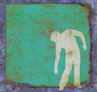 Grunge green background with human silhouette in dynamic pose Stock Illustration