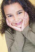 happy cheeky african american mixed race girl child - stock photo