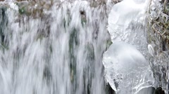 Waterfall in the National Park Slovak Karst, in the village named Haj in winter Stock Footage