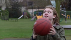 Basketball Girl takes a shot Stock Footage