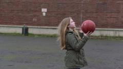 Basketball Girl Throws Stock Footage