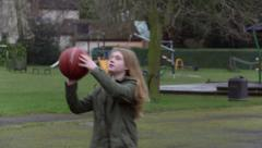 Stock Video Footage of Basketball Girl laughing