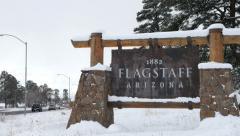Flagstaff Arizona Sign in Snow Stock Footage