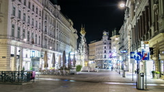 HYPERLAPSE Graben and St. Stephan's cathedral Vienna at night - Time lapse Stock Footage