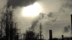 Stock Video Footage of pipe smoke, oil refining, at sunset (8)
