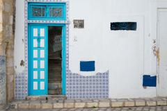 Cyan tunisian door Stock Photos