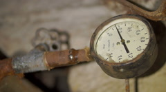 Rusty gauge high pressure cold hot water Stock Footage