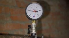 Pressure gauge cold hot water Stock Footage