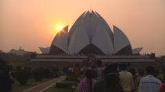 Lotus Temple in Delhi at Sunset Stock Footage