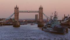 Stock Video Footage of London Tower Bridge Time-Lapse