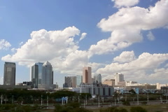 Tampa skyline seen from a distance Stock Footage