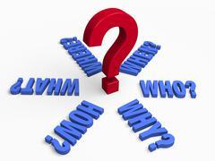 six key questions - stock illustration