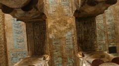 Ancient painting on the ceiling at Dendera Temple Stock Footage
