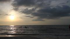 Beach Sunset Kayak Silloute - stock footage