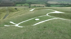 Close up of the head on the Uffington Horse, Uffington, Oxfordshire, UK. Stock Footage