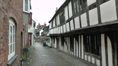 Timber framed buildings on Church Lane in Ledbury, Herefordshire, UK. Stock Footage