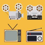 Flat design retro objects with a film projector, tape recorder, TV and radio - stock illustration