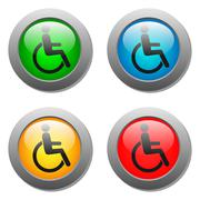 Disabled icon set on glass buttons - stock illustration