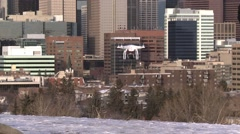 Drone landing with downtown city in BG Stock Footage