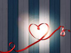 heart ribbon love valentines day marriage wood - stock illustration