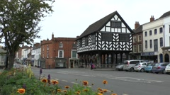 The timber framed Market House in the centre of Ledbury, Herefordshire, UK. Stock Footage